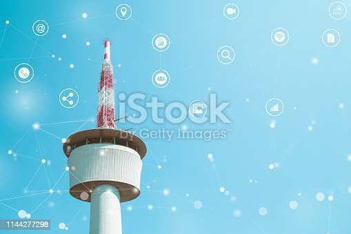 istock Communication Concept Cell Tower with Abstract Networks Icons 1144277298