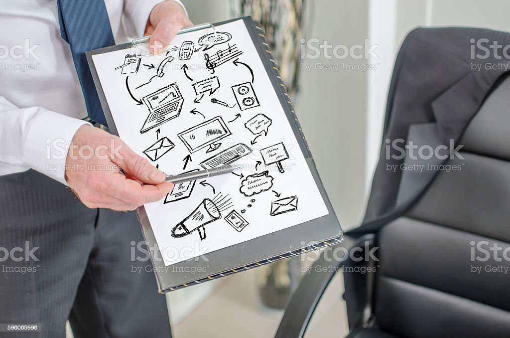 Communication concept on a clipboard royalty-free stock photo