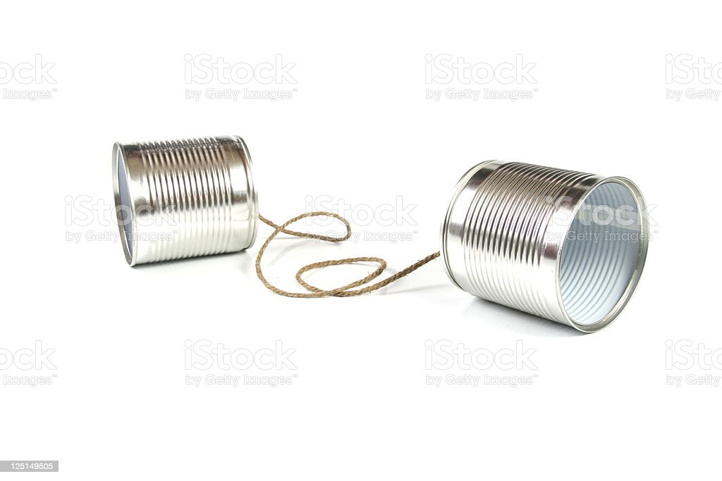 communication concept: tin can phone stock photo