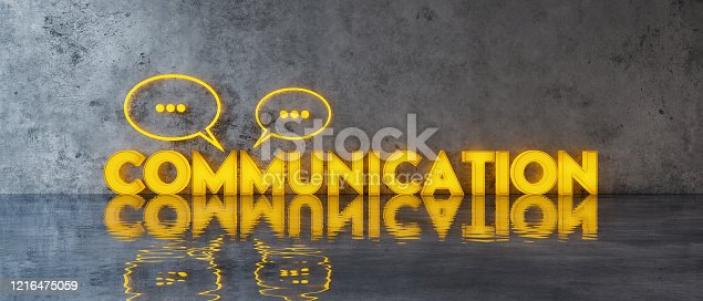 Communication concept with speech bubbles on concrete wall 3d render 3d illustration