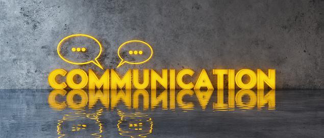 Communication concept with speech bubbles on concrete wall 3d render 3d illustration