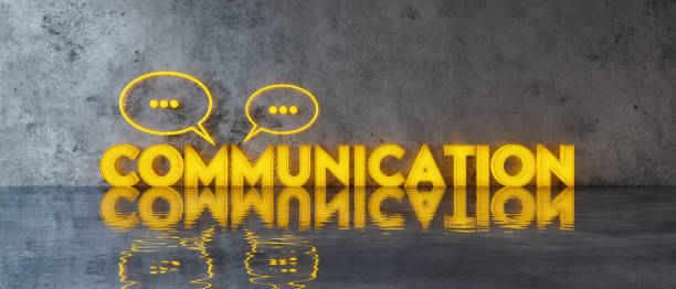 Communication concept with speech bubbles on concrete wall 3d render Communication concept with speech bubbles on concrete wall 3d render 3d illustration verbaasd stock pictures, royalty-free photos & images