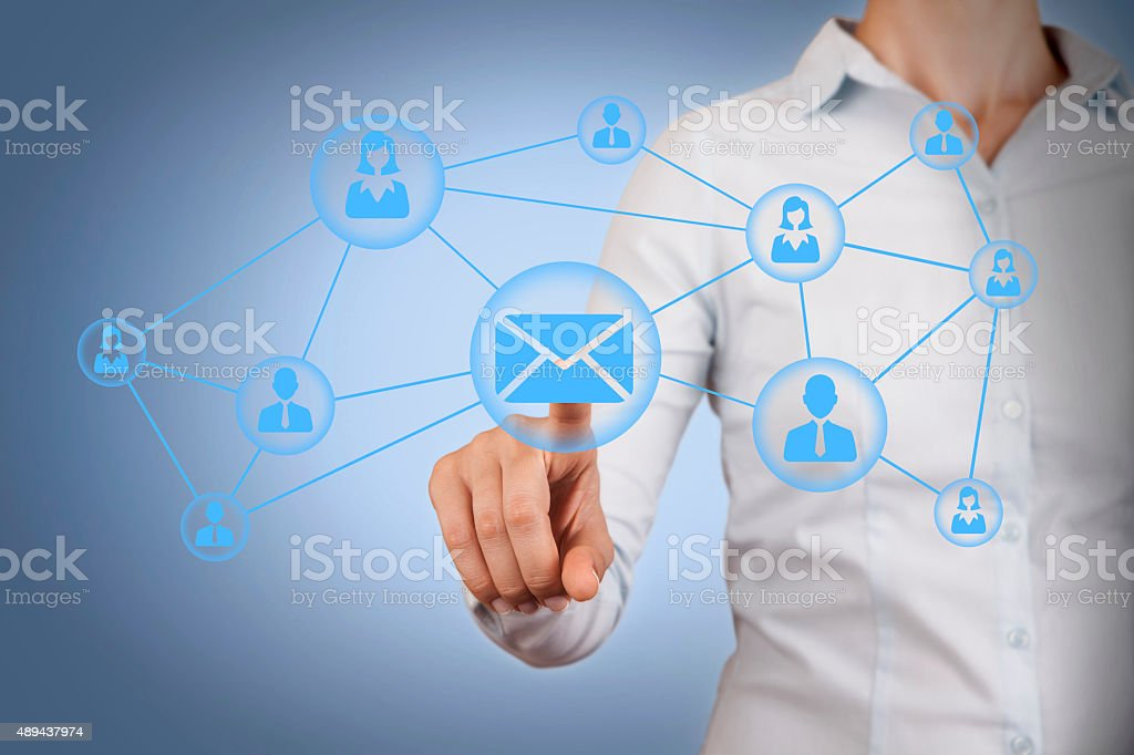 Communication Conceptual on Visual Screen stock photo