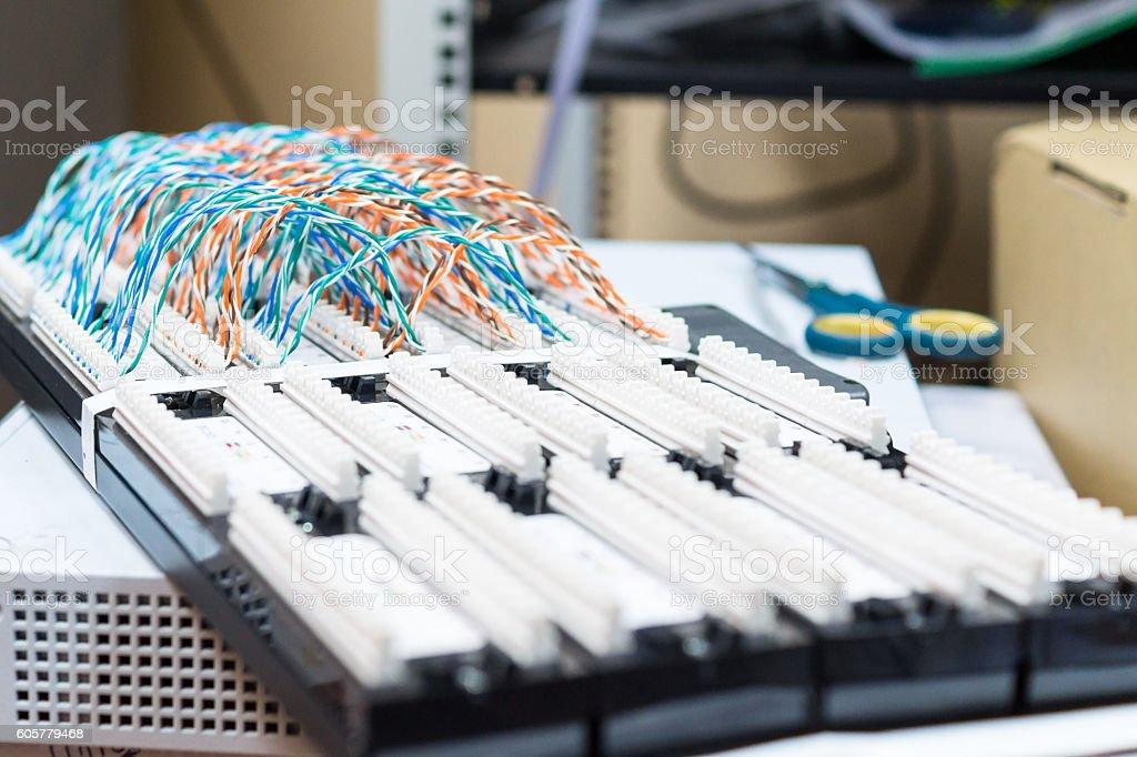 Communication control patch panel stock photo