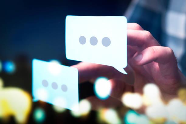 communication, dialog, conversation on an online forum and internet chatting concept. - feedback comunicação imagens e fotografias de stock