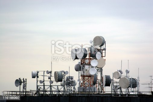 Communication equipment located at the top of a skyscraper