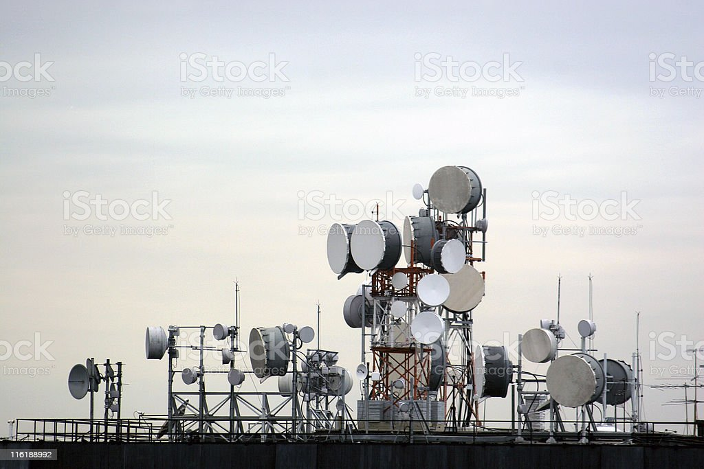 Communication equipment antenna stock photo