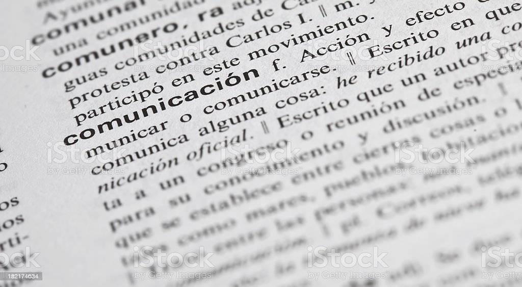 communication explained in spanish royalty-free stock photo