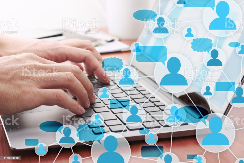 Communication in social media. Online people network structure. - Royalty-free Adult Stock Photo