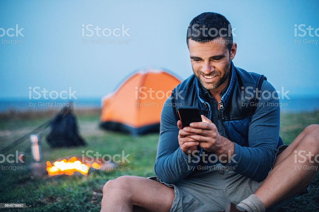 Communication in the mountain camp stock photo