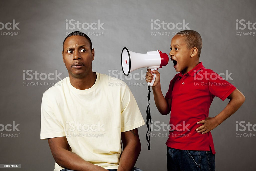 Communication issues: father and son royalty-free stock photo
