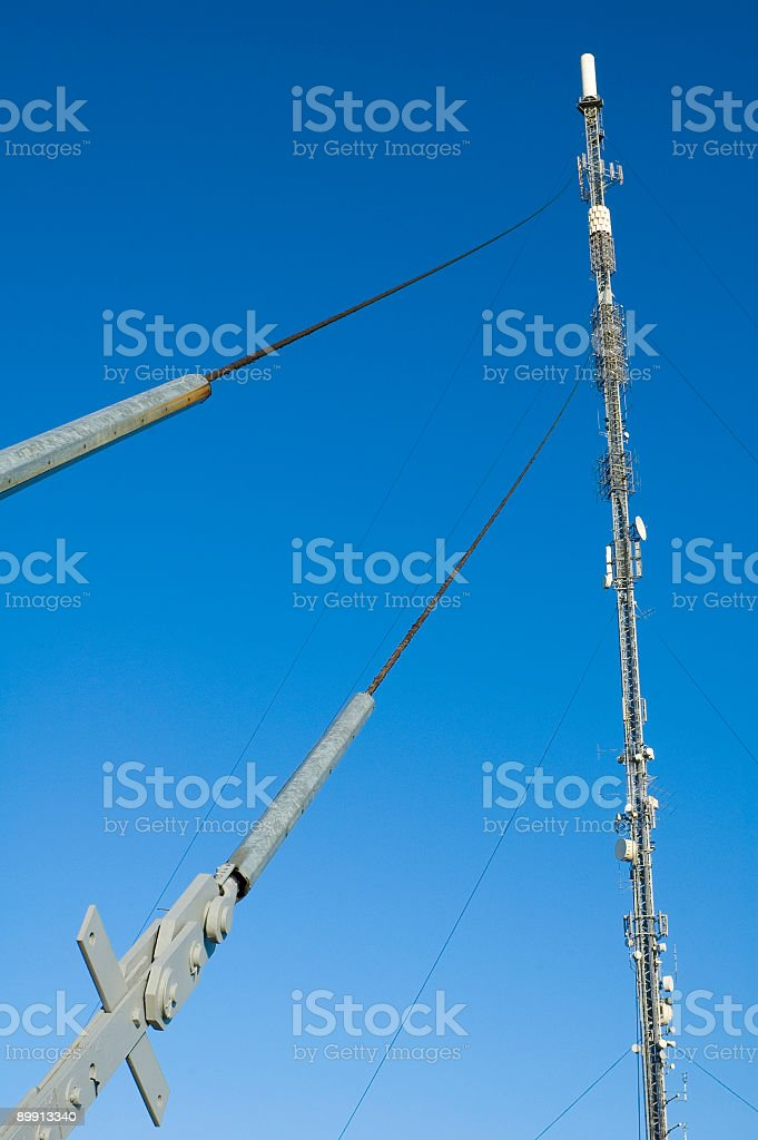 Communication mast and dishes royalty-free stock photo