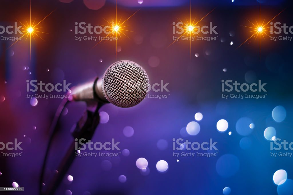communication microphone on stage against a background of auditorium Concert stage stock photo