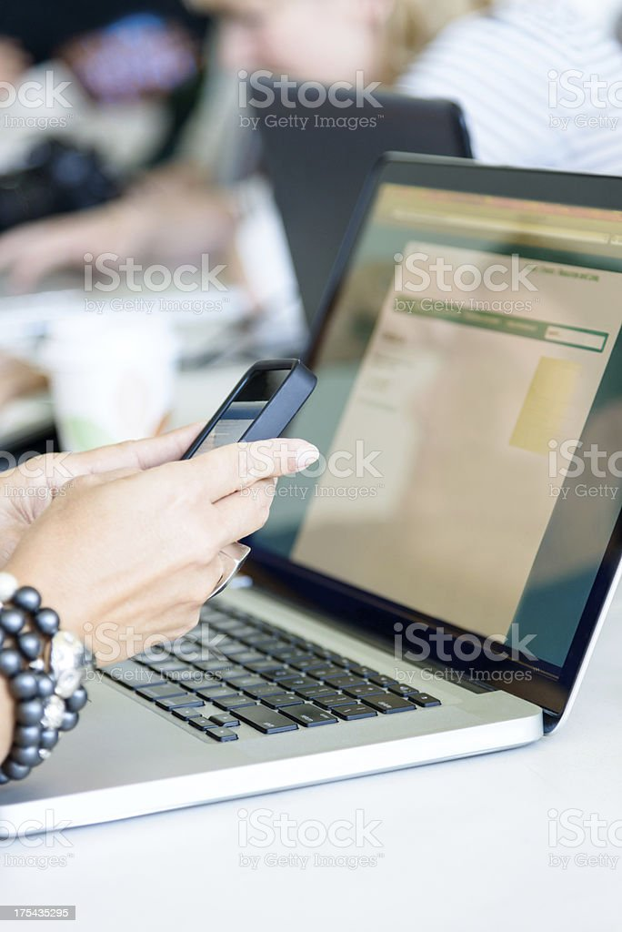 Communication Modern Technology Concept Working with Cell Phone and Computer royalty-free stock photo