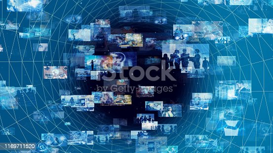 1146418904 istock photo Communication network concept. A lot of pictures in cyberspace. 1169711520