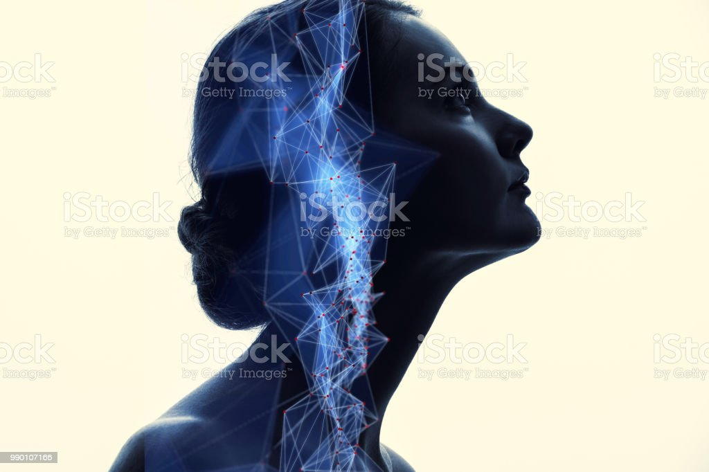 Communication network concept. AI(Artificial Intelligence). stock photo