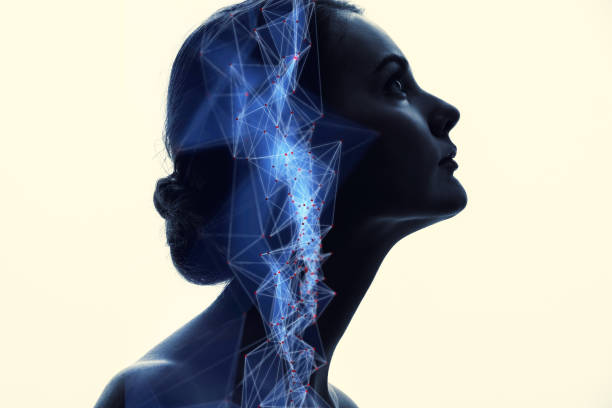 communication network concept. ai(artificial intelligence). - nerve cell stock photos and pictures