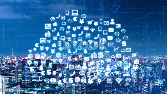 1140691204istockphoto Communication network concept. Cloud computing. Smart city. 1154262000