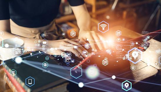 Communication network concept. Digital transformation.