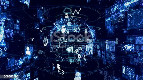 1127070103 istock photo Communication network concept. GUI (Graphical User Interface). 1209882290
