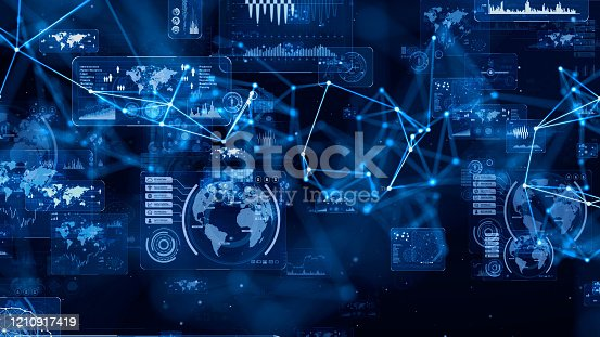 istock Communication network concept. GUI (Graphical User Interface). 1210917419