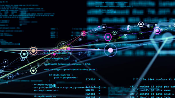 Communication network concept in cyberspace. Abstract background animation. stock photo