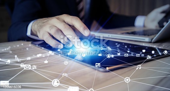 861122794 istock photo Communication network concept. IoT (Internet of Things). Telecommunication. 1209615226