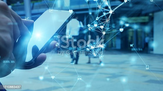 613749812 istock photo Communication network concept. IoT (Internet of Things). Telecommunication. 1210883437