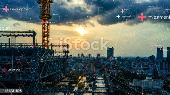 istock Communication network concept. Low power wide area. Smart city. 1154231828