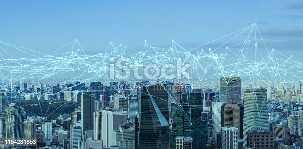 istock Communication network concept. Low power wide area. Smart city. 1154231853