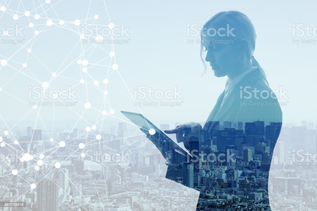 Communication network concept. Multiple exposure. stock photo
