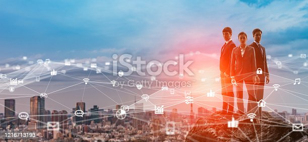 872677410 istock photo Communication network concept. Network engineers. Cyber security. 1216713193