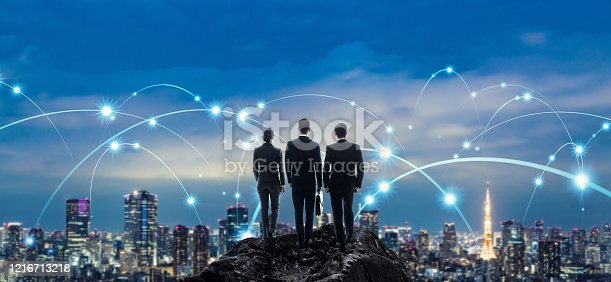 872677410 istock photo Communication network concept. Network engineers. Cyber security. 1216713218