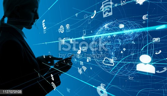 istock Communication network concept. 1127070103