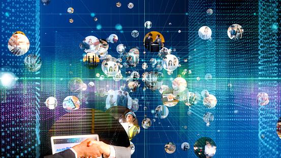 istock Communication network concept. 1129515245
