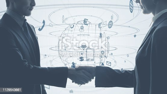 istock Communication network concept. 1129543661