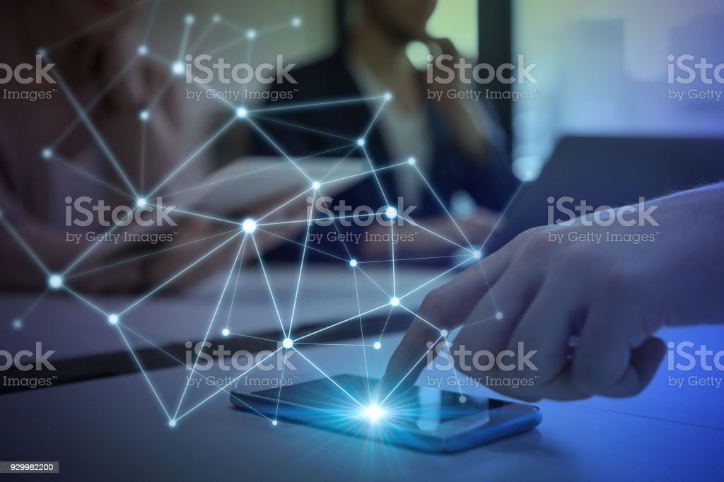 Communication network concept. stock photo