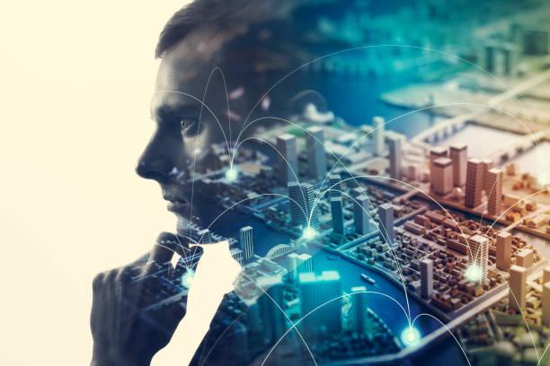 communication network concept. - człowiek maszyna zdjęcia i obrazy z banku zdjęć