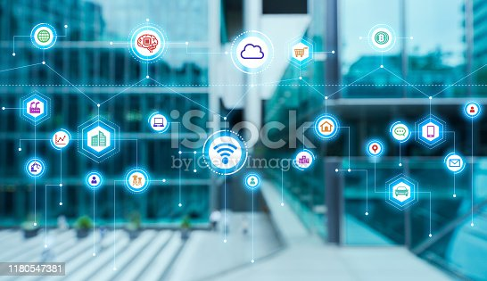 861165648istockphoto Communication network concept. Smart city. 5G. IoT (Internet of Things) concept. 1180547381