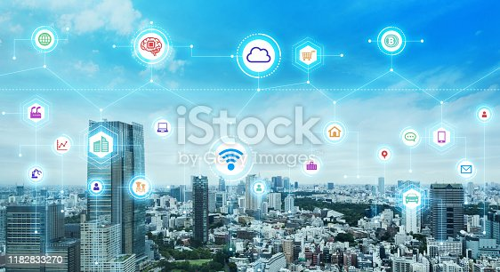 681672754 istock photo Communication network concept. Smart city. 5G. IoT (Internet of Things) concept. 1182833270