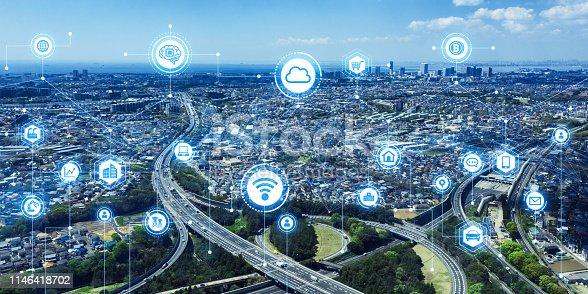 668312520 istock photo Communication network concept. Smart city. 1146418702