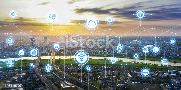 1013558568 istock photo Communication network concept. Smart city. 1146418707