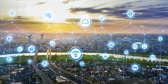 istock Communication network concept. Smart city. 1146418707