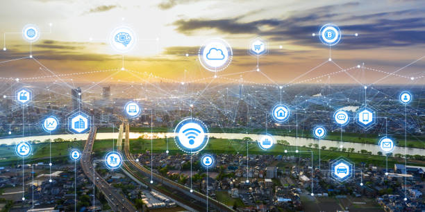 Communication network concept. Smart city. Communication network concept. Smart city. smart city stock pictures, royalty-free photos & images