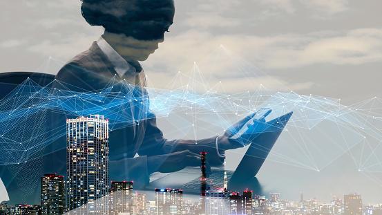 1054574034 istock photo Communication network concept. Smart city. 1154371721