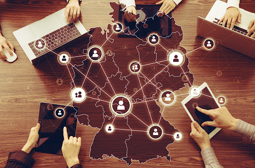 Communication network of Germany concept.