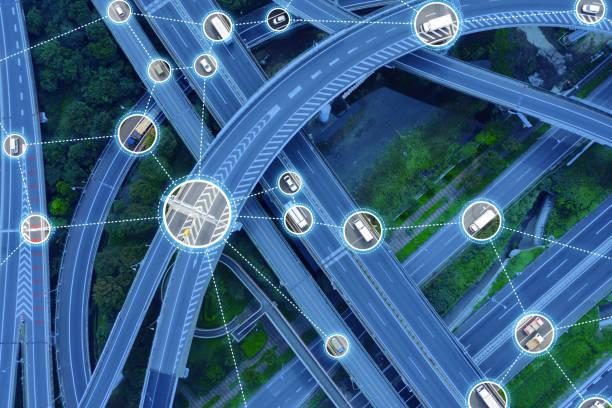 Kommunikations nät av transport koncept. Trafikstyrnings system. bildbanksfoto