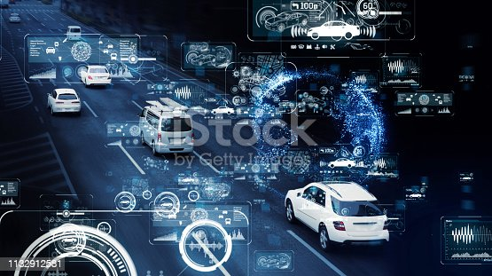 istock Communication network of transportation. GUI (Graphical User Interface). HUD (Head up Display). 1132912581