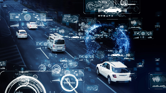 870169952 istock photo Communication network of transportation. GUI (Graphical User Interface). HUD (Head up Display). 1132912581