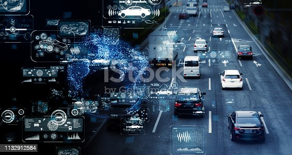 istock Communication network of transportation. GUI (Graphical User Interface). HUD (Head up Display). 1132912584